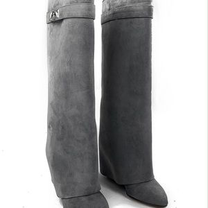 Givenchy Suede Shark Lock Boots